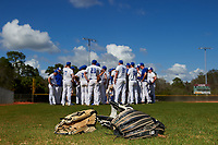 South Dakota State Jackrabbits team meeting after a game against the FIU Panthers on February 23, 2019 at North Charlotte Regional Park in Port Charlotte, Florida.  South Dakota State defeated FIU 4-3.  (Mike Janes/Four Seam Images)