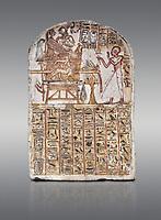 Ancient Egyptian Stele of Amenemope dedicated to Amenhotep I and Ahmose-Nefertari, limestone, New Kingdom, 19th Dynasty, (1279-1213 BC), Deir el-Medina, Drovetti cat 1452. Egyptian Museum, Turin. Grey background.