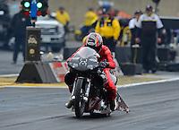 Oct. 8, 2012; Mohnton, PA, USA: NHRA pro stock motorcycle rider Matt Smith during the Auto Plus Nationals at Maple Grove Raceway. Mandatory Credit: Mark J. Rebilas-