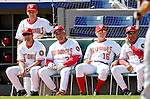 10 March 2007: Washington Nationals coaching staff watch action against the New York Mets at Space Coast Stadium in Viera, Florida. Seated left to right: Manager Manny Acta, Bench Coach Pat Corrales, Spring Instructor John Stearns, First Base Coach Jerry Morrales, with Pitching Coach Randy St. Claire standing left.<br /> <br /> Mandatory Photo Credit: Ed Wolfstein Photo