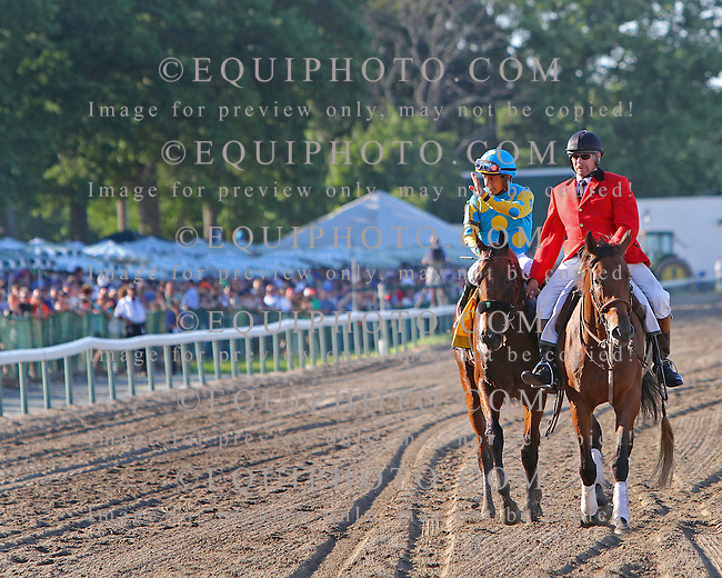 American Pharoah #4 with Victor Espinoza riding, won the $1,750,000 Grade 1 William Hill Haskell Invitational at Monmouth Park on Sunday August 2, 2015.  Photo By Mark Wyville/EQUI-PHOTO.