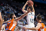 Real Madrid's player Sergio Rodriguez and Valencia Basket's Dubljevic and Diot during the first match of the Semi Finals of Liga Endesa Playoff at Barclaycard Center in Madrid. June 02. 2016. (ALTERPHOTOS/Borja B.Hojas)