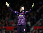 David De Gea of Manchester United throws his hands up in despair following the third goal during the Carabao Cup match at Old Trafford, Manchester. Picture date: 7th January 2020. Picture credit should read: Darren Staples/Sportimage