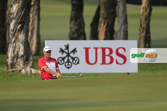 Jason Barnes (ENG) plays out of a bunker onto the 9th green during Round 1 of the 2015 UBS Hong Kong Open at the Hong Kong Golf Club in The Netherlands on 2/10/15.<br /> Picture: Thos Caffrey | Golffile