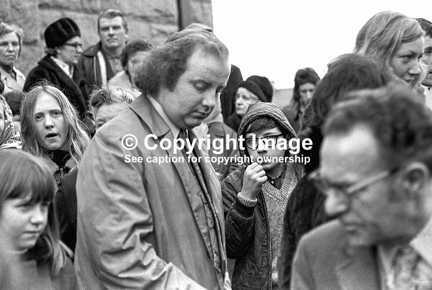 Ivan Cooper, MP, SDLP, among the attendees in the Bogside, Londonderry, N Ireland, UK, at a commemorative rally marking the first anniversary of Bloody Sunday. 197301280039.<br />