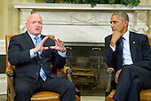 NASA astronaut Scott Kelly, left, makes remarks as United States President Barack Obama, right, looks on following a meeting with Scott and his brother Mark in the Oval Office of the White House in Washington, DC on Friday, October 21, 2016.<br /> Credit: Ron Sachs / Pool via CNP
