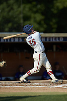 Jonathan Barham (35) (College of Charleston) of the High Point-Thomasville HiToms follows through on his swing against the Martinsville Mustangs at Finch Field on July 26, 2020 in Thomasville, NC.  The HiToms defeated the Mustangs 8-5. (Brian Westerholt/Four Seam Images)