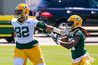 Green Bay Packers tight end Richard Rodgers (82) and safety Aaron Taylor (37) during an OTA on June 1, 2017 at Clark Hinkle Field in Green Bay, Wisconsin. (Brad Krause/Krause Sports Photography)