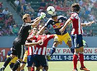 CARSON, CA - August 25, 2013: Chivas USA goalkeeper Dan Kennedy (1) and New York Red Bulls midfielder Tim Cahill (17) during the Chivas USA vs New York Red Bulls match at the StubHub Center in Carson, California. Final score, Chivas USA 3, New York Red Bulls 2.