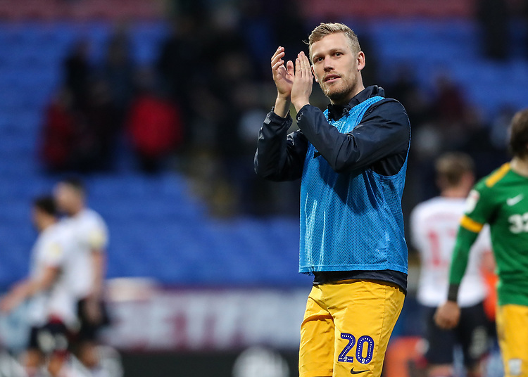 Preston North End's Jayden Stockley applauds his side's travelling supporters at the end of the match  <br /> <br /> Photographer Andrew Kearns/CameraSport<br /> <br /> The EFL Sky Bet Championship - Bolton Wanderers v Preston North End - Saturday 9th February 2019 - University of Bolton Stadium - Bolton<br /> <br /> World Copyright © 2019 CameraSport. All rights reserved. 43 Linden Ave. Countesthorpe. Leicester. England. LE8 5PG - Tel: +44 (0) 116 277 4147 - admin@camerasport.com - www.camerasport.com