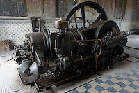 German diesel motor made in 1913 by Korting in Hannover, Germany, located the machine room at Hacienda Yaxcopoil, Yucatan, Mexico.