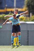 Mark Kirby of Haringey clears during Haringey Borough vs Stanway Rovers, Emirates FA Cup Football at Coles Park Stadium on 25th August 2018