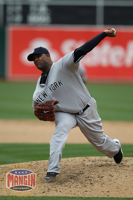 OAKLAND, CA - MAY 26:  CC Sabathia #52 of the New York Yankees pitches against the Oakland Athletics during the game at O.co Coliseum on Saturday May 26, 2012 in Oakland, California. Photo by Brad Mangin