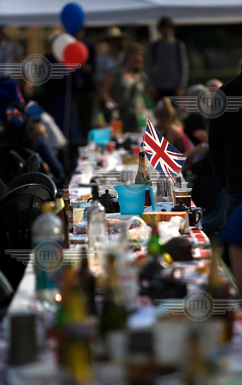 A table at a street party in south London during the Royal Wedding between Britain's Prince William and Kate Middleton.