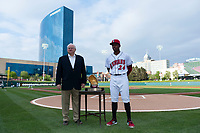 Indianapolis Indians third baseman Ke'Bryan Hayes (24) is presented with a 2018 Rawlings Gold Glove Award before an International League game against the Columbus Clippers at Victory Field on April 29, 2019 in Indianapolis, Indiana. (Zachary Lucy/Four Seam Images)