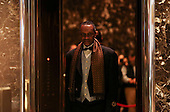 A doorman in the Trump Tower while United States President-elect Donald Trump holds meetings on the top floors of the Trump Tower, November 21, 2016, in New York, New York.<br /> Credit: Aude Guerrucci / Pool via CNP