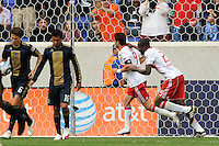 Juan Pablo Angel (9) of the New York Red Bulls celebrates scoring the game winning goal with Ibrahim Salou (29). The New York Red Bulls defeated the Philadelphia Union 2-1 during a Major League Soccer (MLS) match at Red Bull Arena in Harrison, NJ, on April 24, 2010.