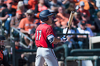 Gonzaga Bulldogs left fielder Isaac Barrera (17) at bat during a game against the Oregon State Beavers on February 16, 2019 at Surprise Stadium in Surprise, Arizona. Oregon State defeated Gonzaga 9-3. (Zachary Lucy/Four Seam Images)