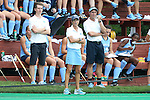 12 September 2014: UNC head coach Karen Shelton stands in front of the bench. The University of North Carolina Tar Heels hosted the Syracuse University Orange at Francis E. Henry Stadium in Chapel Hill, North Carolina in a 2014 NCAA Division I Field Hockey match. UNC won the game 3-0.