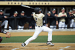 Johnny Aiello (2) of the Wake Forest Demon Deacons follows through on his first inning grand slam against the Louisville Cardinals at David F. Couch Ballpark on March 18, 2018 in  Winston-Salem, North Carolina.  The Demon Deacons defeated the Cardinals 6-3.  (Brian Westerholt/Sports On Film)
