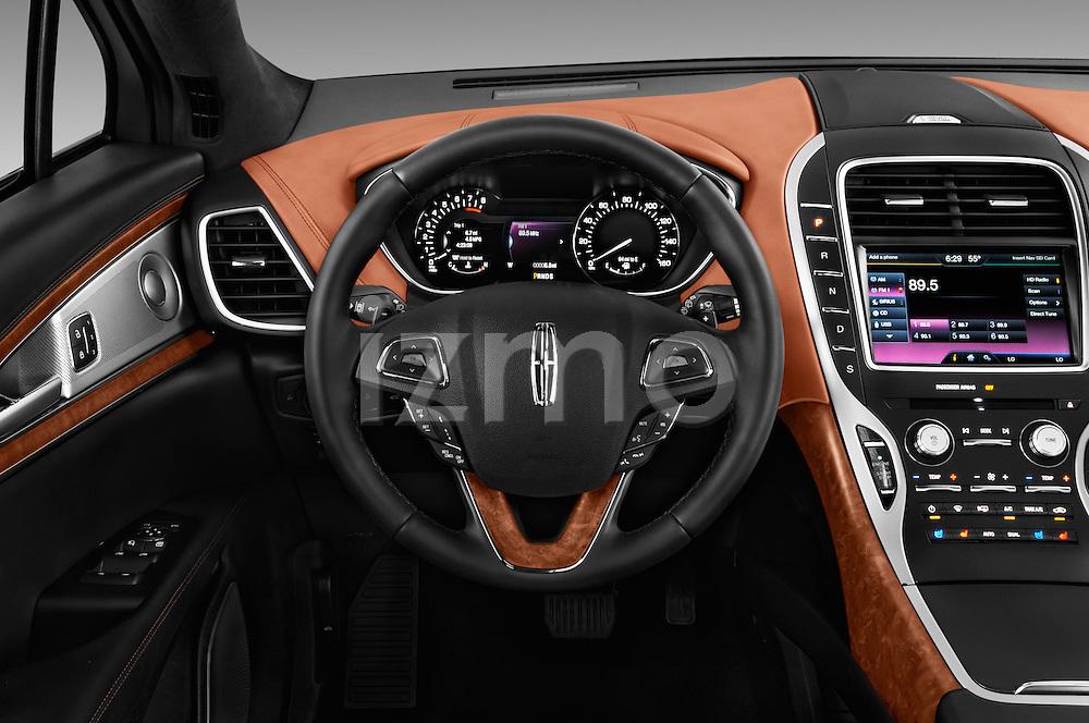 Car pictures of steering wheel view of a 2016 Lincoln MKX Black Label 5 Door Suv Steering Wheel