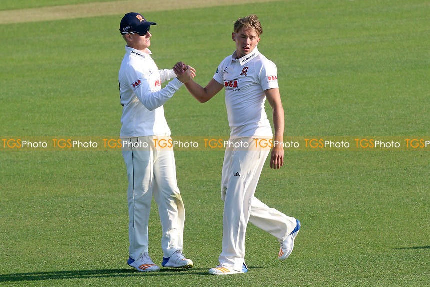 Aaron Beard of Essex (R) celebrates taking the wicket of Dane Vilas during Essex CCC vs Lancashire CCC, Specsavers County Championship Division 1 Cricket at The Cloudfm County Ground on 7th April 2017