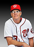 25 February 2011: Dan Radison, First Base Coach for the Washington Nationals, poses for his Photo Day portrait at Space Coast Stadium in Viera, Florida. Mandatory Credit: Ed Wolfstein Photo
