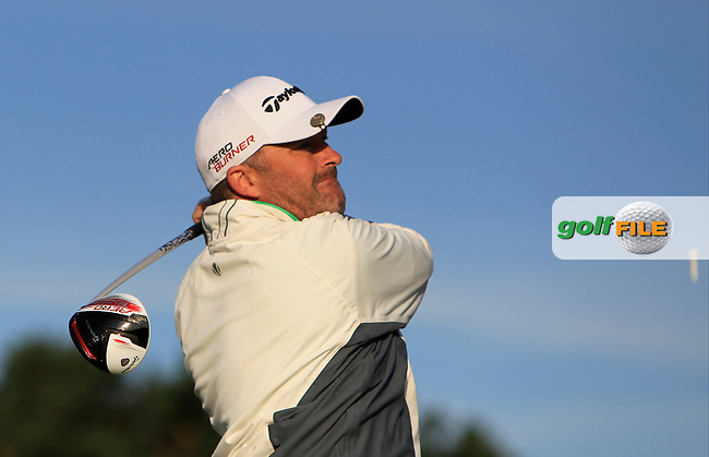 Damien McGrane (IRL) on the 2nd tee during Round 1 of the 2015 KLM Open at the Kennemer Golf &amp; Country Club in The Netherlands on 10/09/15.<br /> Picture: Thos Caffrey | Golffile