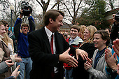 Clinton, South Carolina.USA.February 3, 2004..Senator John Edwards campaigns at Presbyterian College on primary election day in seven states including South Carolina...
