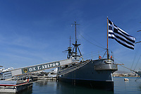 Pictured: The Georgios Averof cruise ship. Saturday 18 May 2019<br /> Re: Prince Edward, Duke of Kent visits cruiser Georgios Averof at Palaio Faliro, Athens, Greece