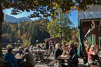 Austria, Styrian Salzkammergut, autumn scenery at Lake Toplitz: Inn Fischerhuette | Oesterreich, Steyrisches Salzkammergut, Herbststimmung am Toplitzsee, Gasthof Fischerhuette