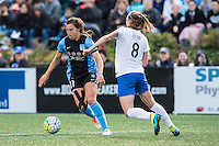 Allston, MA - Saturday, May 07, 2016: Chicago Red Stars forward Sofia Huerta (11) and Boston Breakers defender Julie King (8) during a regular season National Women's Soccer League (NWSL) match at Jordan Field.