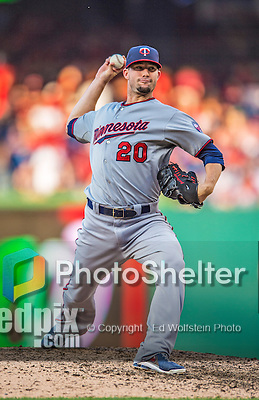 8 June 2013: Minnesota Twins pitcher Josh Roenicke on the mound against the Washington Nationals at Nationals Park in Washington, DC. The Twins edged out the Nationals 4-3 in 11 innings. Mandatory Credit: Ed Wolfstein Photo *** RAW (NEF) Image File Available ***