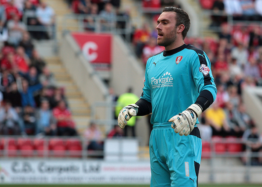 Rotherham United's Lee Camp<br /> <br /> Photographer David Shipman/CameraSport<br /> <br /> Football - The Football League Sky Bet Championship - Rotherham United v Cardiff City - Saturday 19th September 2015 - AESSEAL New York Stadium - Rotherham<br /> <br /> &copy; CameraSport - 43 Linden Ave. Countesthorpe. Leicester. England. LE8 5PG - Tel: +44 (0) 116 277 4147 - admin@camerasport.com - www.camerasport.com
