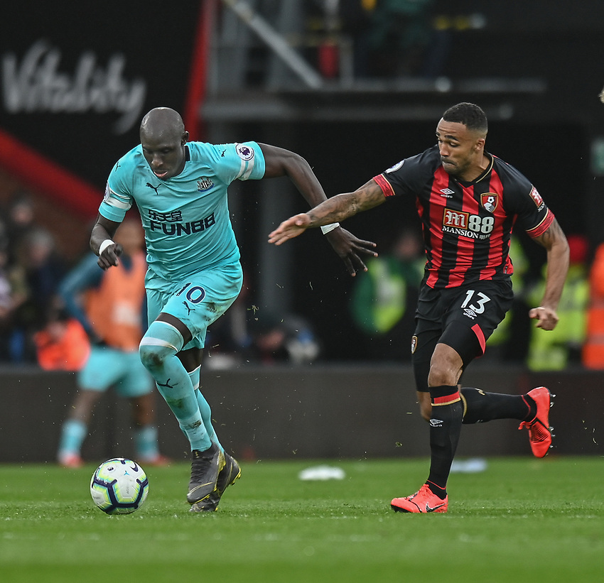 Newcastle United's Mohamed Diame (left) under pressure from Bournemouth's Callum Wilson (right) <br /> <br /> Photographer David Horton/CameraSport<br /> <br /> The Premier League - Bournemouth v Newcastle United - Saturday 16th March 2019 - Vitality Stadium - Bournemouth<br /> <br /> World Copyright © 2019 CameraSport. All rights reserved. 43 Linden Ave. Countesthorpe. Leicester. England. LE8 5PG - Tel: +44 (0) 116 277 4147 - admin@camerasport.com - www.camerasport.com