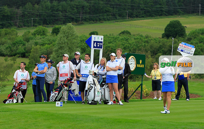 Bronte Law on the 4th tee during the Friday morning Foursomes of the 2016 Curtis Cup at Dun Laoghaire Golf Club on Friday 10th June 2016.<br /> Picture:  Golffile | Thos Caffrey