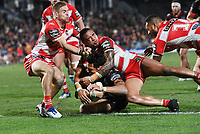 Anthony Gelling scores a try.<br /> NRL Premiership rugby league. Vodafone Warriors v St George Illawarra. Mt Smart Stadium, Auckland, New Zealand. Friday 20 April 2018. &copy; Copyright photo: Andrew Cornaga / www.Photosport.nz