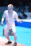 Kazuyasu Minobe (JPN), <br /> AUGUST 19, 2018 - Fencing : <br /> Men's Individual Epee Round of 32 <br /> at Jakarta Convention Center Cendrawasih <br /> during the 2018 Jakarta Palembang Asian Games <br /> in Jakarta, Indonesia. <br /> (Photo by Naoki Nishimura/AFLO SPORT)