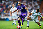 Cristiano Biraghi (l) of ACF Fiorentina battles for the ball with Achraf Hakimi of Real Madrid during the Santiago Bernabeu Trophy 2017 match between Real Madrid and ACF Fiorentina at the Santiago Bernabeu Stadium on 23 August 2017 in Madrid, Spain. Photo by Diego Gonzalez / Power Sport Images