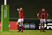 The Wales U20s players look dejected at the end of the match<br /> <br /> Photographer Richard Martin-Roberts/CameraSport<br /> <br /> Six Nations U20 Championship Round 4 - Wales U20s v Italy U20s - Friday 9th March 2018 - Parc Eirias, Colwyn Bay, North Wales<br /> <br /> World Copyright &copy; 2018 CameraSport. All rights reserved. 43 Linden Ave. Countesthorpe. Leicester. England. LE8 5PG - Tel: +44 (0) 116 277 4147 - admin@camerasport.com - www.camerasport.com