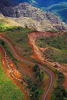 The winding Kokee Road and Kokee Ditch, along the rim of Waimea Canyon, west Kaua`i.