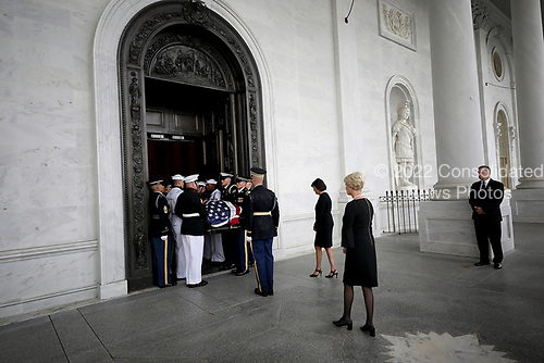 GETTY POOLWASHINGTON, DC - AUGUST 31:  Cindy McCain (2nd R) follows a military honor guard team as they carry the casket of her husband, the late-Sen. John McCain (R-AZ), into the U.S. Capitol, August 31, 2018 in Washington, DC. The late senator died August 25 at the age of 81 after a long battle with brain cancer. He will lie in state at the U.S. Capitol today, a rare honor bestowed on only 31 people in the past 166 years. Sen. McCain will be buried at his final resting place at the U.S. Naval Academy on Sunday.  (Photo by Win McNamee/Getty Images)