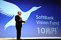 May 10, 2017, Tokyo, Japan - Japan's telecommunications giant Softbank president Masayoshi Son announces the company's financial result ended March in Tokyo on Wednesday, May 10, 2017. Softbank group's net profit is more than tripled to a record 1.43 trillion yen from previous year.   (Photo by Yoshio Tsunoda/AFLO) LwX -ytd-