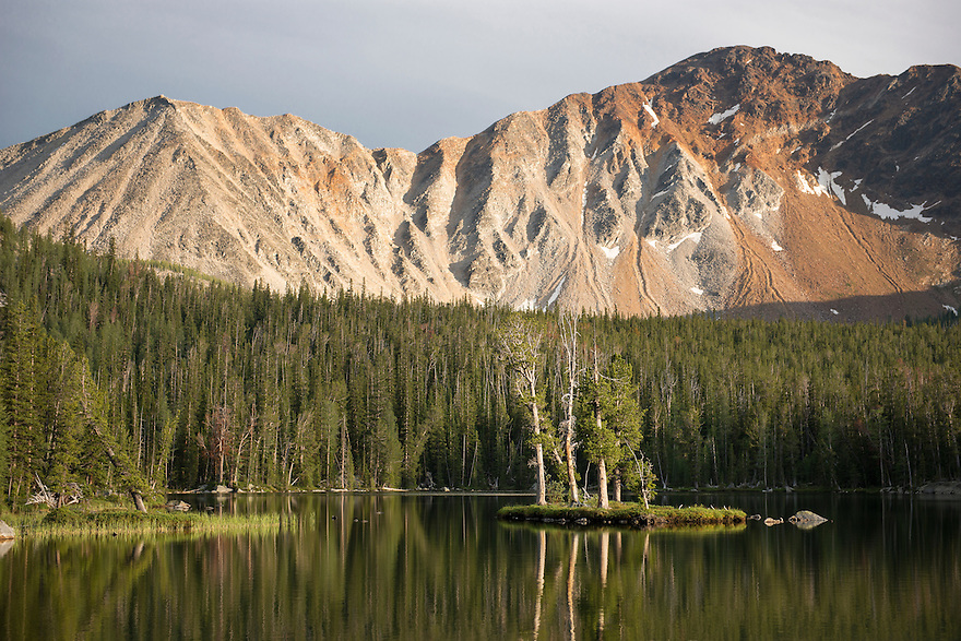 A stand of whitebark pine trees rise from the namesake island on Lake of the Isle in Deerlodge National Forest on Independence Day.