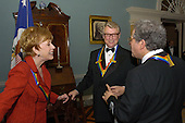 2003 Kennedy Center Honors recipients, comedian Carol Burnett, left, director Mike Nichols, center, and violinist Itzhak Perlman, right,  talking after a dinner at the United States Department of State in their honor in Washington, DC on December 6, 2003..Credit: Robert Trippett - Pool via CNP