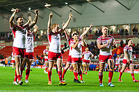 Picture by Alex Whitehead/SWpix.com - 11/05/2018 - Rugby League - Ladbrokes Challenge Cup - Leigh Centurions v Salford Red Devils - Leigh Sports Village, Leigh, England - Leigh players celebrate the win.