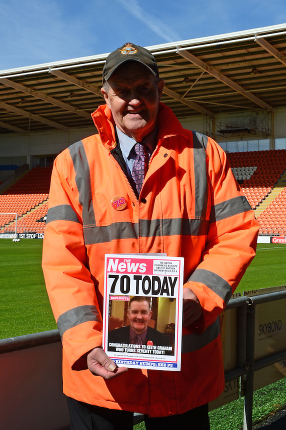 Blackpool FC Media Steward Keith Graham poses with his Birthday Card after recently celebrating his 70th Birthday. <br /> <br /> Photographer Richard Martin-Roberts/CameraSport<br /> <br /> The EFL Sky Bet League Two - Blackpool v Carlisle United - Saturday 17 September 2016 - Bloomfield Road - Blackpool<br /> <br /> World Copyright &copy; 2016 CameraSport. All rights reserved. 43 Linden Ave. Countesthorpe. Leicester. England. LE8 5PG - Tel: +44 (0) 116 277 4147 - admin@camerasport.com - www.camerasport.com