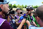 Green Jersey Peter Sagan (SVK) Bora-Hansgrohe at sign on before the start of Stage 6 of the 2018 Tour de France running 181km from Brest to Mur-de-Bretagne Guerledan, France. 12th July 2018. <br /> Picture: ASO/Alex Broadway | Cyclefile<br /> All photos usage must carry mandatory copyright credit (© Cyclefile | ASO/Alex Broadway)
