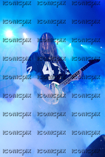 Slayer - guitarist Jeff Hanneman  - performing live on the Unholy Alliance Chapter 2 Tour at the Academy in Brixton London UK - 20 Nov 2006.  Photo credit: George Chin/IconicPix