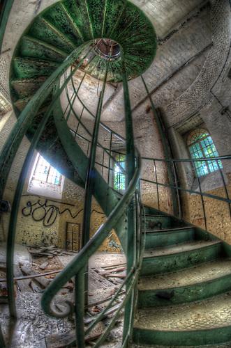 Inside an old water tower on a barracks near Berlin